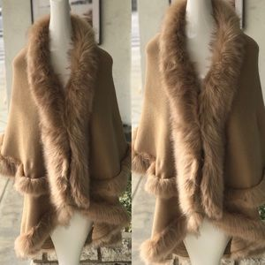 LUXURY Natural Camel Faux Fur Tiered Cape Coat